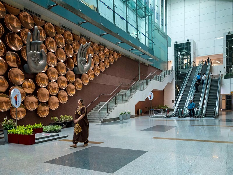 The terminal design incorporates mudras at the entrance of the complex. Image courtesy of Delhi International Airport Limited.