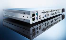 DL-MUX4 controllers can operate up to four computers via one console. DL-MUX transmits Dual-Link DVI up to 2,560x1,600@60Hz. The KVM switch enables connecting up to four video channels.