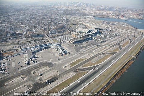 Aerial view of LaGuardia Airport, New York City, US.