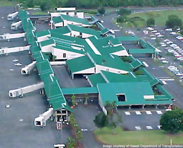 The Hilo International Airport is spread over an area of 1,391acres.