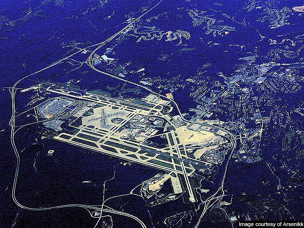 An aerial view of the Pittsburgh International Airport.