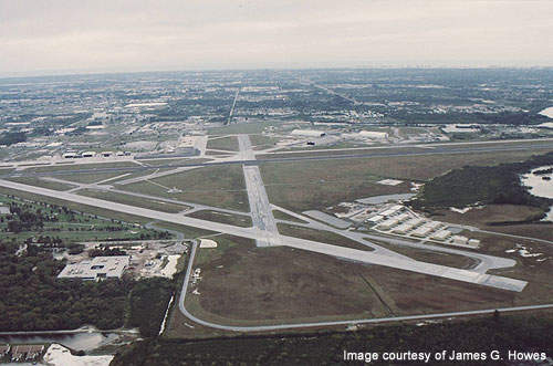 Aerial view of runway 27 at St. Petersburg-Clearwater International Airport.