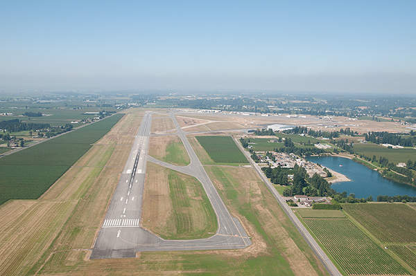 Aerial view of the runways at Abbotsford International Airport. Image courtesy of Abbotsford Airport Authority.