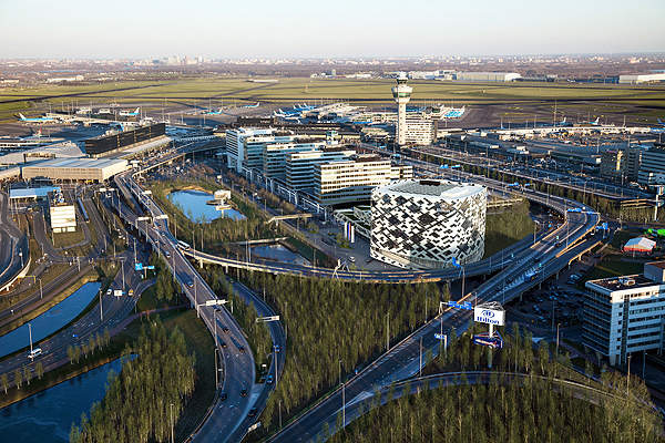 Amsterdam Airport Schiphol is an important international airport serving the Netherlands, in Europe.