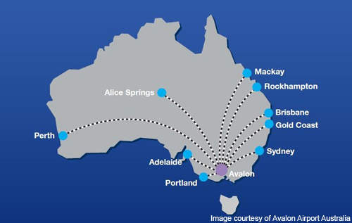 Avalon Airport is situated in Avalon, Victoria, 55km south-west of Melbourne, Australia.