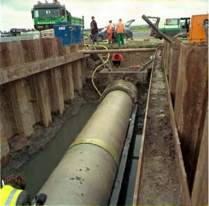 Replacement of rainwater sewage pipes under runway 09-27.