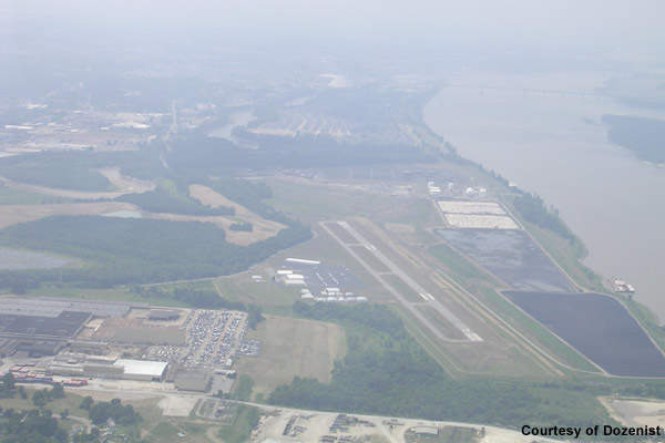 A view of the airport from the sky.