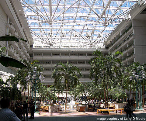 The atrium at Orlando International Airport, Florida, US.