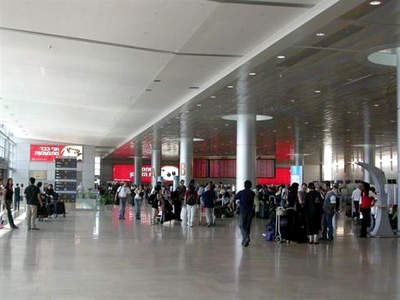 The terminal three arrivals hall at Ben Gurion International Airport in Israel.