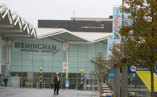 Like most UK airports, security considerations have removed vehicle traffic from outside of Birmingham International terminal buildings.