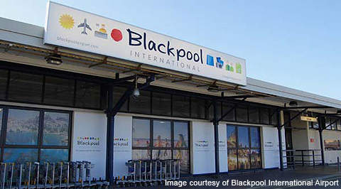 Blackpool International Airport is located on Lancashire's Fylde coast in the UK.