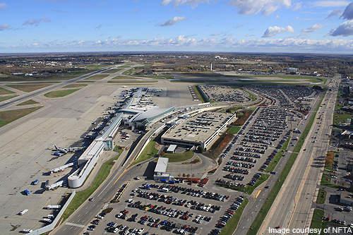 An aerial view of Buffalo Niagara International Airport.