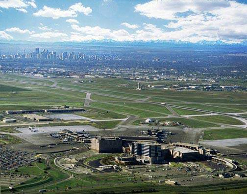 Aerial view of Calgary International Airport.