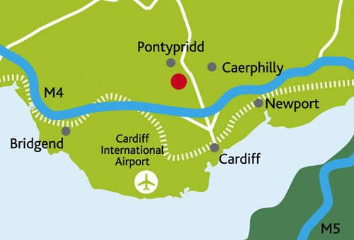 Cardiff International Airport is situated very centrally for South Wales.