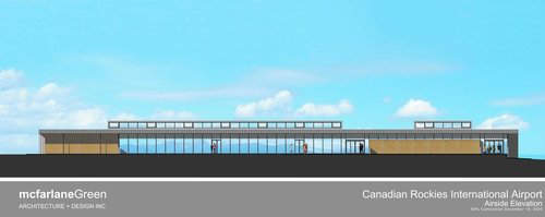 The airside elevation of Cranbrook Airport's new terminal building.