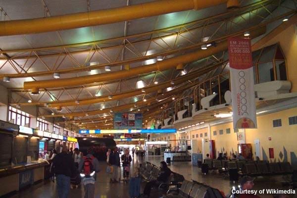 Faro International Airport's check-in area.