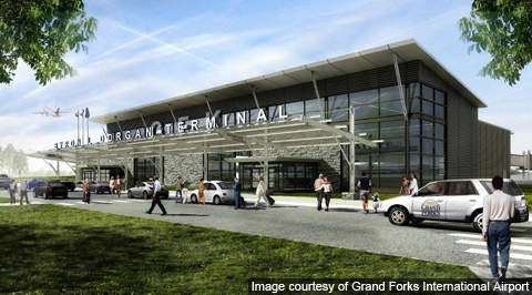 Artist rendering of the new terminal at Grand Forks International Airport.