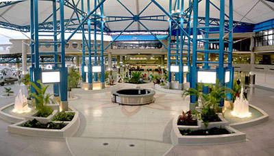 The landside courtyard at Grantley Adams International Airport.