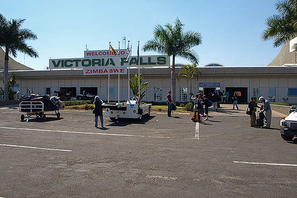 Victoria Falls International Airport is located 18km from the town of Victoria Falls in Zimbabwe. Image courtesy of Kounosu.