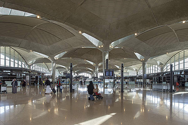 The newly-constructed terminal increases tourist inflow in Jordan. Image courtesy of Foster + Partners.