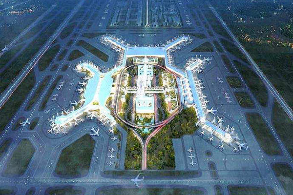 A rendition of terminal two to be built at Haikou Meilan International Airport. Image courtesy of ©ADPI.