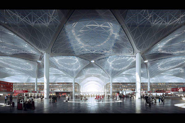 The design for Terminal 1 of Istanbul New Airport will be carried out by Grimshaw, Haptic Architects, and Nordic. Image courtesy of Grimshaw.