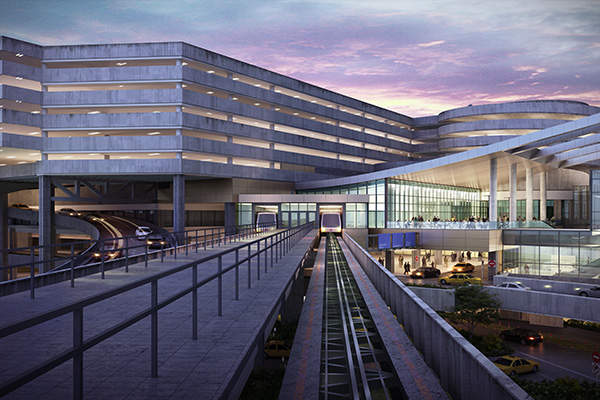 Entry view to the new expansion showing relocated shuttle, expanded terminal area and covered outdoor restaurant and public area terraces at Tampa Airport. Image courtesy of HOK.
