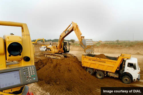 The construction of the Indira Gandhi runway has required over 1.1 million tons of earthworks.