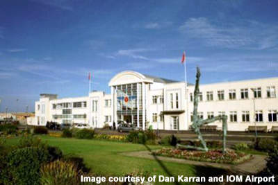 The front entrance of the Isle of Man Airport which was refurbished in the 1990s.