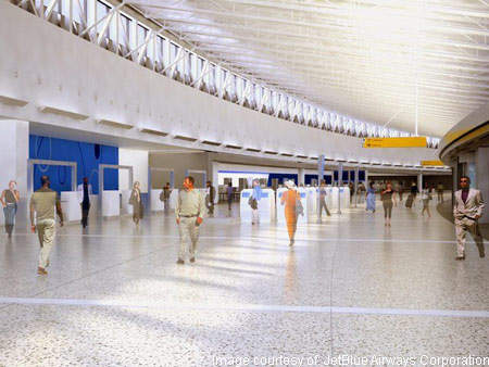 The JetBlue terminal's ticketing hall has a low-ceiling designed to reduce operating and construction costs.