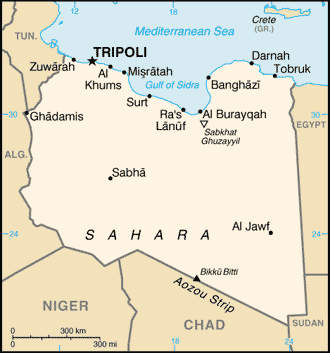 Tripoli International Airport is situated south of the Libyan capital on the coast of the Mediterranean Sea.