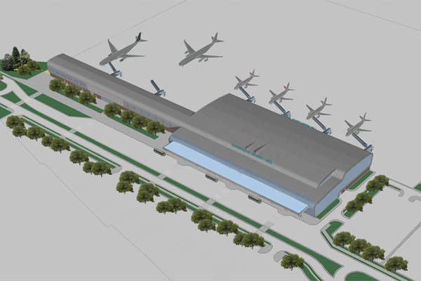 An aerial view of the Lviv airport reconstruction.