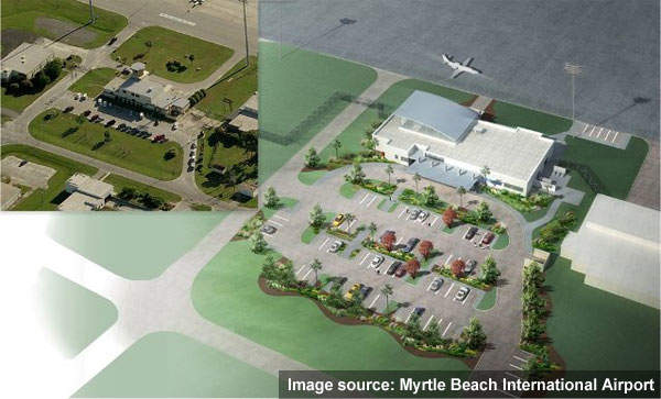 Myrtle Beach International Airport supports the major tourist trade in South Carolina.