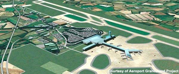 The new Nantes Airport will have an integrated terminal with contact gates and an ATC tower.