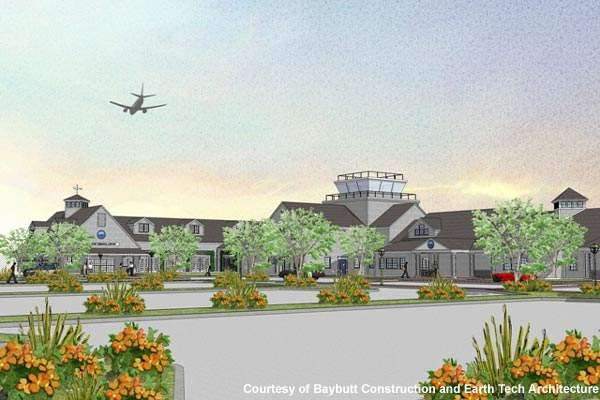 The new terminal buildings at Nantucket Memorial Airport.