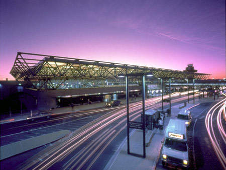 Oakland International terminal two at dusk.