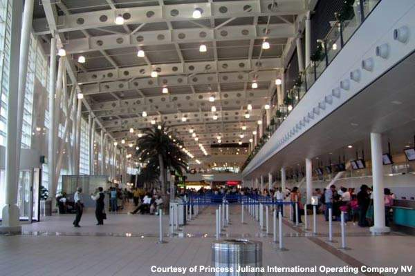 The interior of the new terminal building at Princess Juliana International Airport.