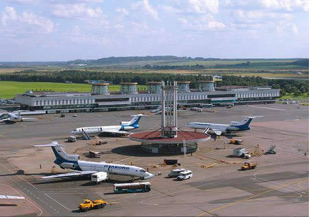 Terminal one of Pulkovo Airport. The airport was originally built with one terminal in 1932 to handle mail and passengers. In 1951 the airport terminal was redesigned to handle larger aircraft.