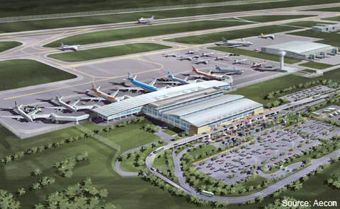 A rendering of the terminal at New Quito Airport.