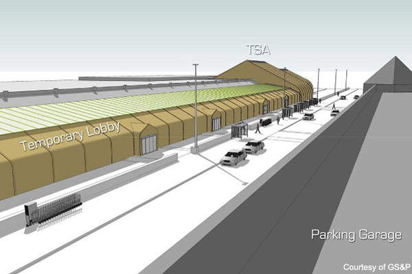 Reno-Tahoe Airport lobby will be moved outside under cover during the ABC project.