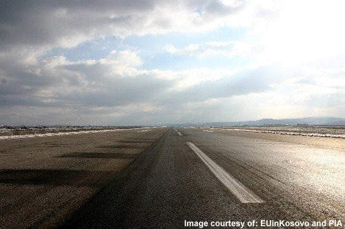 The runway at Priština International Airport had to be repaired as it had large cracks in it.