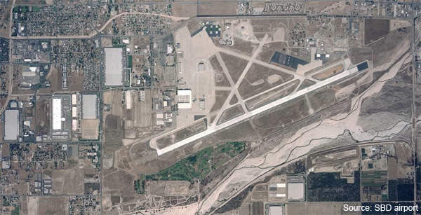 An aerial view of San Bernardino International Airport in California.
