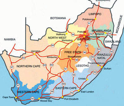 King shaka international airport durban airport technology a map showing where durban lies in relation to other south african cities reinforcing its gumiabroncs Choice Image