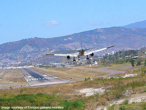 Toncontín International Airport has mountainous terrain on approach and a short runway.