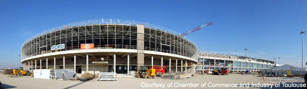 The 'Hemicycle' of the new hall D at Toulouse-Blagnac Airport.