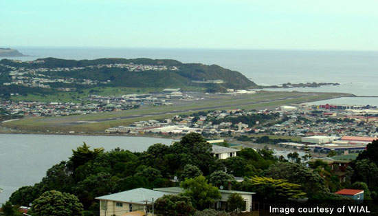 The airport in Wellington showing how difficult it would be to extend the runway.