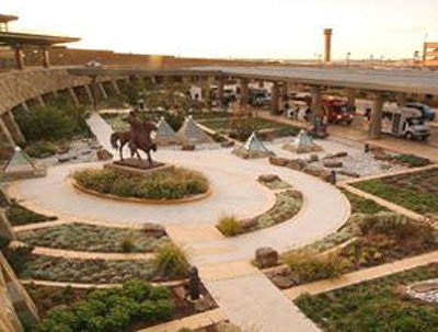 The landscaped garden near the new terminal for passengers to relax in.