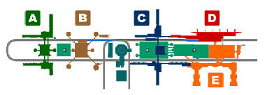 Layout of the terminals at the airport.