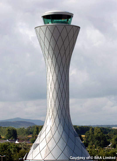 Edinburgh's ATC tower allows a 360° view of the airport stands, runways and aircraft movements.