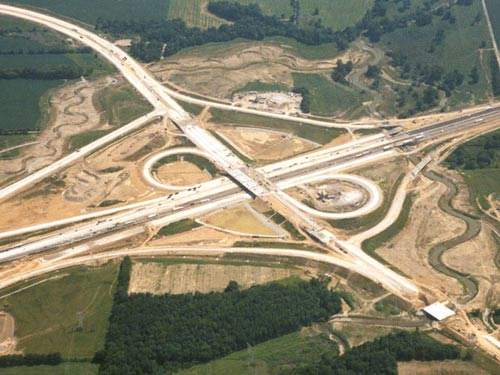 A portion of Interstate 70 (I-70) was relocated to accommodate the New Indianapolis Airport.